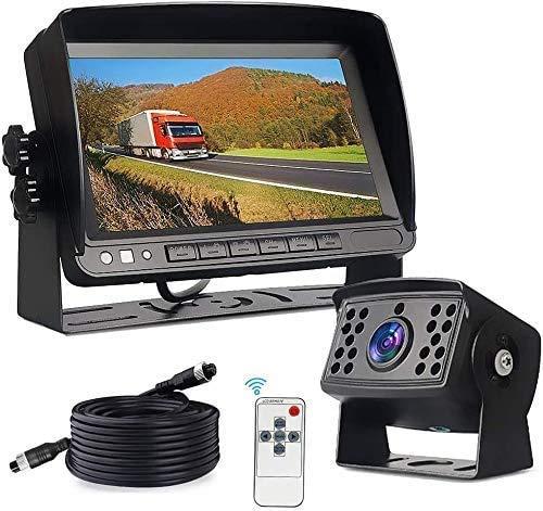 Cámaras de Marcha Atrás para Coches, Monitor LCD IPS de 7'y Camara Trasera de Coche de Visión Nocturna de 18 LED Totalmente Impermeable, Cable de Extensión de Cable de Camión de 20 m