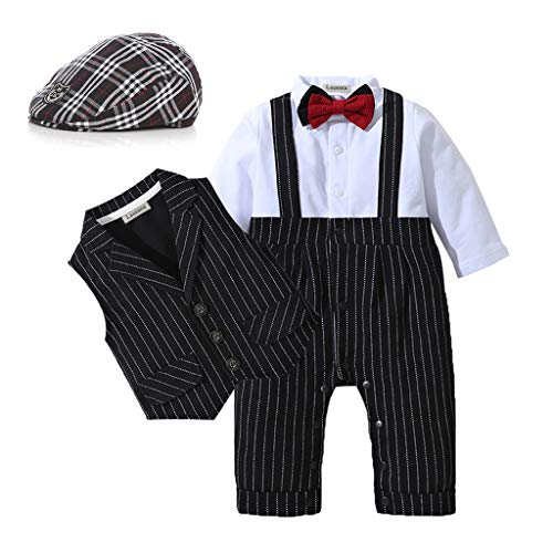 HOSUKKO Baby Boy Suit,Long Sleeve Jumpsuit,Vest,Bow Tie,Infant Boy Gentleman Outfits Sets for Formal Occassion (0-24 Months) Black