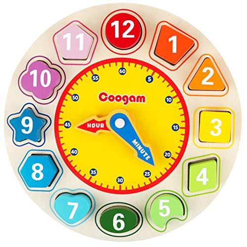 Coogam Lernuhr Holz Montessori Spielzeug mit 12 Steck-Formen Sortierung - Anzahl Blöcke Puzzle Stapeln Frühes Pädagogisches Geschenk für 1 2 3 Jahre altes Kinder