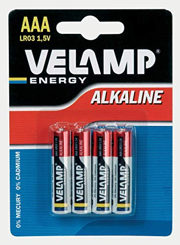 VELAMP LR03/4BP Blister di 4 Batterie LR03, Mini Stilo, AAA Alcaline. 1,5V, Rosso, Set di 4 Pezzi