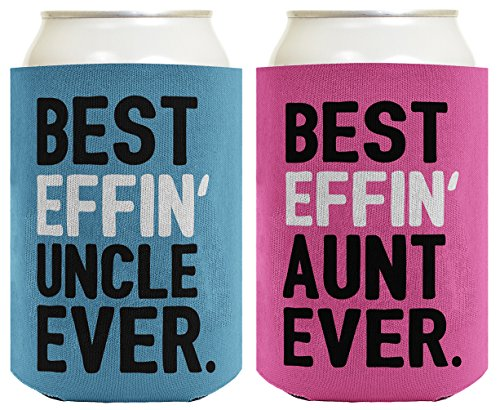 Aunt Uncle Gifts Best Effin  Aunt and Uncle Ever Funny Aunt Uncle Announcement Aunt Uncle Gift Set 2 Pack Can Coolie Drink Coolers Coolies Blue & Pink