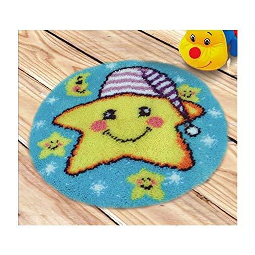 Kit de Gancho de Cierre cojín for Adultos DIY Costura Crochet Cojín Bordado de Hilo Bordado Cojín Crafts Cross Stitch Kits for Adultos Niños de la Estrella 37 * 37cm (Size : 50 * 50cm)