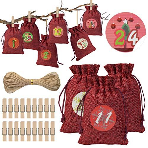 baotongle - Calendario de Adviento para Rellenar (24 Unidades, Bolsa de Yute roja con 1-24 Pegatinas para Calendario de Adviento, Bolsas de Yute para Manualidades, Bolsas de Regalo, 10 x 14 cm)