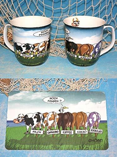 Hösti Becher und Frühstücksbrett als Set. 5 Kühe. Milch Cappuccino Kaffee Kakao Milch.