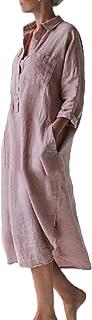 keepwo Womens Kaftan Dress Cotton Linen Full Front Buttons Shirt Lace up Corns Dress