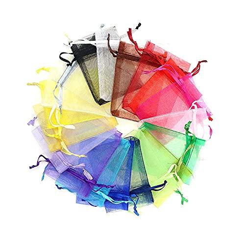 litulituhallo Bolsas de organza para regalo con cordón, bolsas de joyería para bodas, fiestas, 4 por 4, 7 colores, 60 unidades