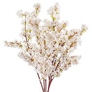 Cherry Blossom Flowers Artificial – 6 Stems Cherry Blossom Branches Long Stems Silk Tall Fake Flower Tree – Large Dogwood Blossoms Vases Arrangements for Home Decor, Wedding, Vase – 39 Inch Faux Stem