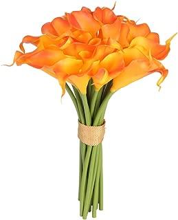 Easin Calla Lily Bridal Bouquet Wedding Flowers 20 PCS a Set Artificial Flowers Home Decor Real Touch (Orange)