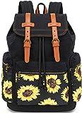 Girls School Backpack Women College Bookbag Lady Travel Rucksack 15.6Inch Laptop Bag (Black Sunflower)