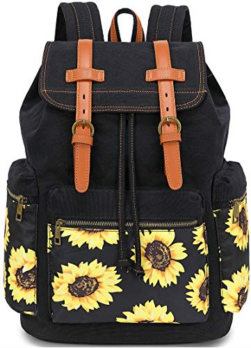 Girls School Backpack Women College Bookbag Lady Travel Rucksack 15.6Inch Laptop Bag (Black Sunflower)
