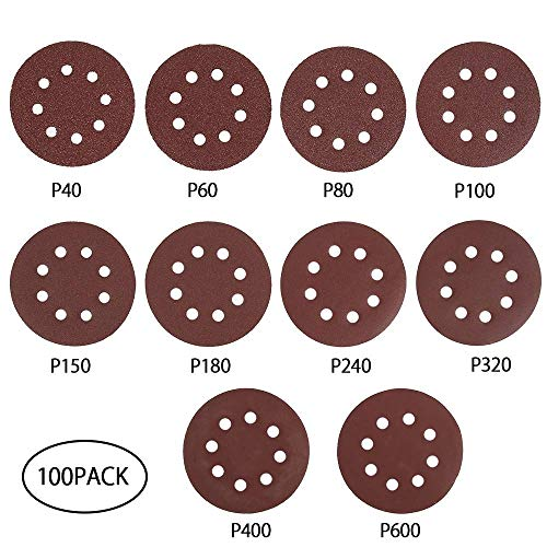 GENFALIN 100pcs 5 pulgadas gancho de papel bucle de lijado con 8 agujero de arena juego de electrodos 40 Grit-600 granos abrasivos Sander disco for la máquina polaca