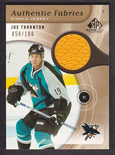 2005-06 SP Game Used Authentic Fabric Gold #AF-JT Joe Thornton Jersey 058/100