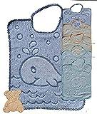 Bavaglie jacquard con elastico 100% spugna di cotone colore da bambino (pacco da 6) ideale per Asilo nido e Scuola Materna + un simpatico OMAGGIO per il vostro bambino