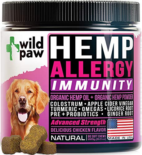 Dog Allergy Relief Treats w/ Organic Hemp  Colostrum  VitaminC & Probiotics - Dog Itch Relief & Immunity Support Supplement - Seasonal & Skin Allergies Itch Relief For Dogs - Natural Dog Allergy Chews