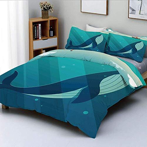 Qoqon Bettbezug-Set, riesiger weißer Wal unter dem Ozean mit Seemann auf Wasser mit LichtstrahlenDekoratives 3-teiliges Bettwäscheset mit 2 Kissenbezügen, blau und weiß, Kinder & We