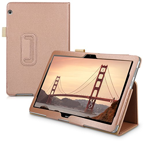 kwmobile Case Compatible with Huawei MediaPad T3 10 - Slim PU Leather Tablet Cover with Stand Feature - Rose Gold
