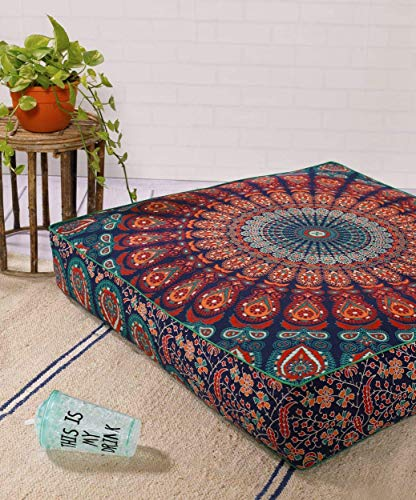 Square Hippie Mandala Floor Pillow Ottoman Pouf Cover - Indian Peacock Daybed Oversized Cotton Cushion Cover Heavy Duty Zipper Seating Ottoman Dog - Pets Bed Cover 22' Multicolor