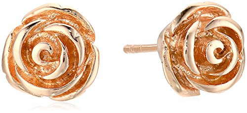 Sterling Silver with Rose Gold Flash Stud Earrings