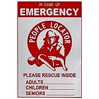 緊急消防救助デカールバンドル - (6パック) 反射ロケーターアラートステッカー - 子供、ペット、年配の方に家族で安全 Door Decal (1-Pack) PLS000-6