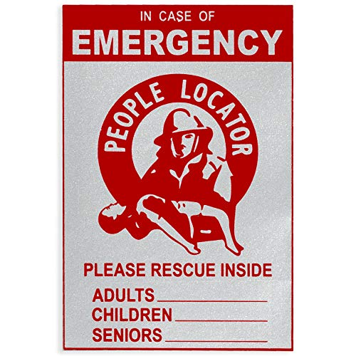 Emergency Child Locator Rescue Decal – (1 PACK) Reflective Locator Alert Sticker – Fire Safety for Kids – Firefighter Front Door House Window Clings - Save Our Kids Inside – EMS Protection Emblem Sign