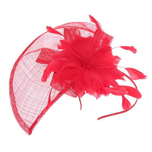 NC Chapéu de Caixinha de Comprimidos Fascinador de Flores Chapéu Lady Derby para Festa de Casamento Banquete Real - Vermelho