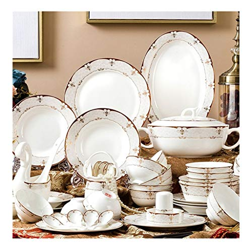 JIAX 60 Pieces Tableware Set Porcelain Dinner Set Saucers/Dessert Plates/Soup Plates/Dinner Plates and Bowls – Microwave, Oven and Dishwasher Safe
