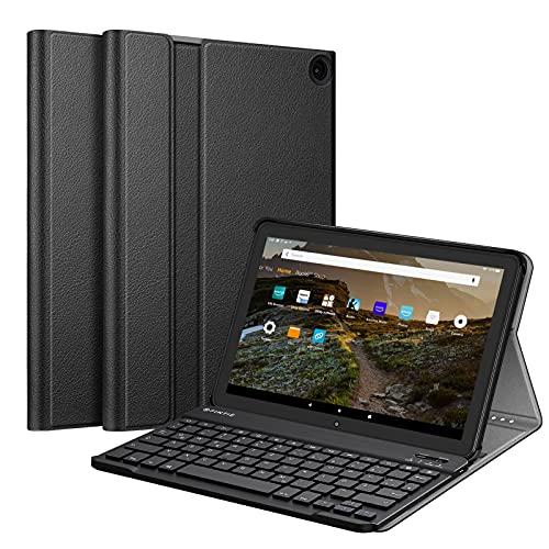 Fintie Bluetooth Tastatur Hülle für Das Neue Fire HD 10 & Fire HD 10 Plus Tablet (11. Generation, 2021) - Superdünn Ständer Schutzhülle mit magnetisch abnehmbar Deutscher QWERTZ Tastatur, Schwarz