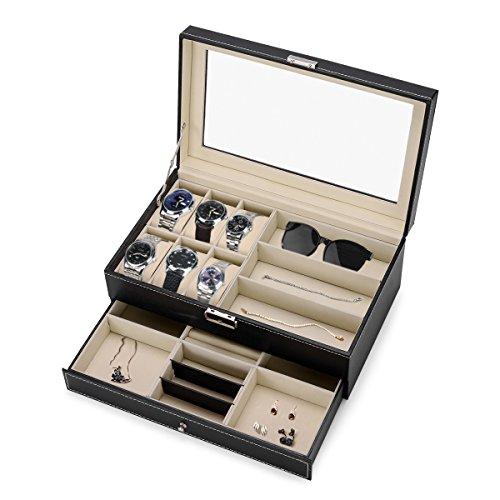 Efantur Caja para Relojes Grande, 2 Capas con Ventana para 6 Relojes, 3 Gafas de Sol, cajón para Joyas, Joyas, etc. (Negro)