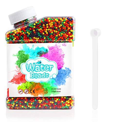 Oladwolf Wasserperlen, 50,000 Orbeez Wasserperlen für Kinder, Aqualinos Gelperlen Ungiftig, Wasserkugeln Spielzeug, Depato Wassergel Kugeln für Pflanzen Vase Füllstoff