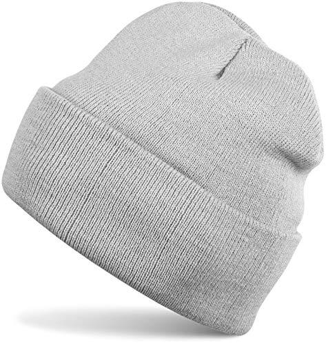 styleBREAKER Unisex warme Beanie Strickmütze, Feinstrick Mütze doppelt gestrickt, Winter 04024029, Farbe:Hellgrau