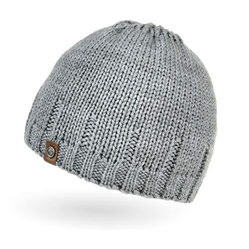 Neverless® gefütterte Strickmütze für Herren, Mütze mit Fleece Futter, Winter-Mütze hellgrau Unisize