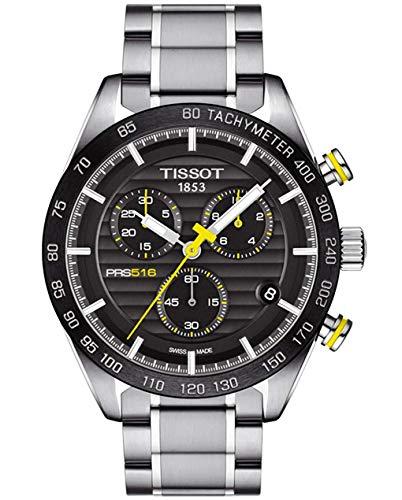 Tissot T100.417.11.051.00 PRS 516 Chronograph, schwarzes Zifferblatt, Herren-Armbanduhr