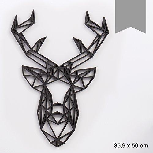 KLEINLAUT 3D-Origamis aus Holz - Wähle EIN Motiv & Farbe - Hirschkopf - 35,9 x 50 cm (XL) - Grau