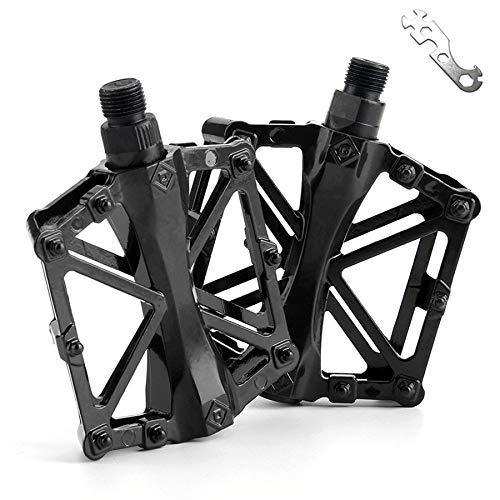 Haoliving 2pcs Mountain Bike Road Bike Pedals & Wrenches Ultra Light Bicycle Aluminum Alloy Bearing Shaft Non-Slip Pedal for Road Bike (Black)