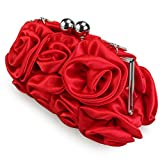 Missy K 7 Roses Clutch Purse, Satin, with...