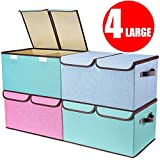 Larger Storage Cubes [4-Pack] Senbowe Linen Fabric Foldable Collapsible Storage Cube Bin Organizer Basket with...