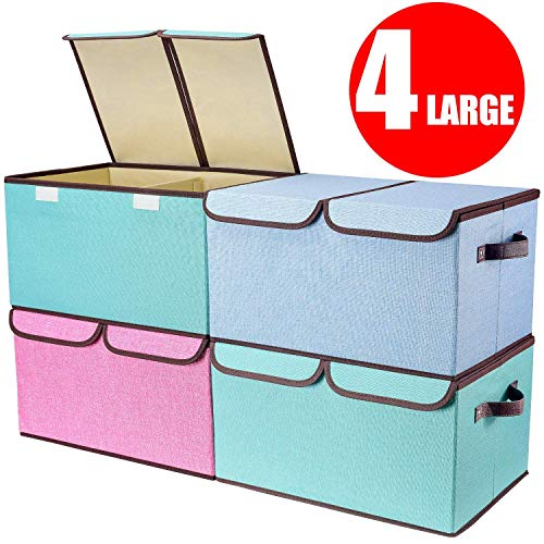 """senbowe Larger Storage Cubes [4-Pack] Linen Fabric Foldable Collapsible Storage Cube Bin Organizer Basket with Lid, Handles, Removable Divider for Home, Office, Nursery, Closet - (17.7 x 11.8 x 9.8"""")"""