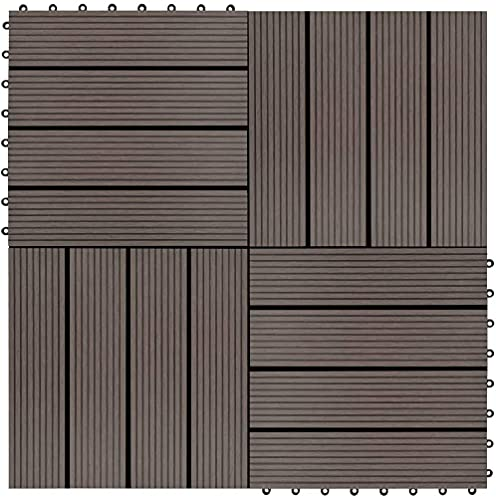 GCSQF Baldosas de Madera Terraza Baldosas Sistema de Enclavamiento de baldosas para terrazas de 22 Piezas, para Patios, Balcones, baños o Piscina o área de SPA 30x30cm GCSQF210716(Color:Dark Brown)