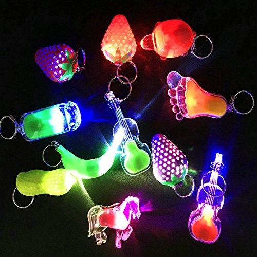 ZCOINS 12 Pièces Mini LED Lampes de Poche Keyring Kits de fêtes, Idéal pour Retour Cadeaux Sac Fillers Giveaway Lumières Décoration De Fête, Glowing Porte-clés Jouet pour Garçons Filles Adultes