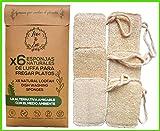 Love The Eco® Esponjas De Luffa para Fregar Platos | X6 | Esponjas Biodegradables, Naturales,...