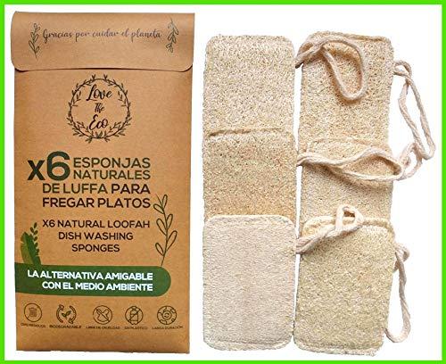Love The Eco® Esponjas De Luffa para Fregar Platos | X6 | Esponjas Biodegradables, Naturales, Ecológicas | Larga Duración | Cero Residuos | Zero Waste | Cruelty Free