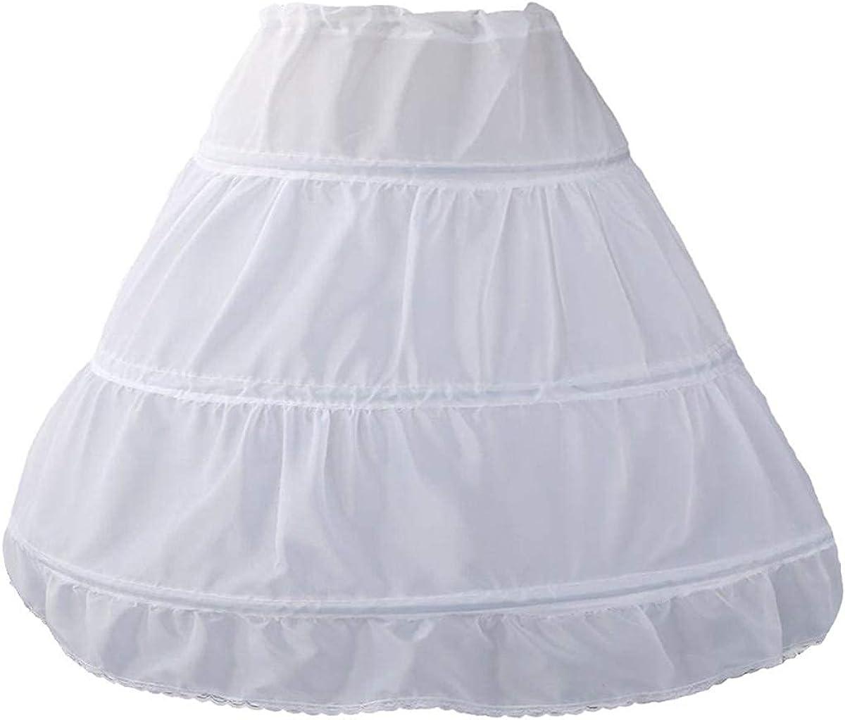 QYC Girl's Petticoat 3 Hoops Full Length Crinoline Petticoat Skirt,White, 2 Size