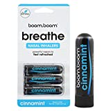 Aromatherapy Nasal Inhaler (3 Pack) by BoomBoom | All Natural Plant Therapy Essential Oil Vaporizers | Instant Relief from Stuffy Nose | Amazing Flavors Menthol, Peppermint, Eucalyptus (Cinna-Mint)