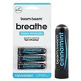 BoomBoom Inhalador nasal de aromaterapia (aumenta el enfoque y mejora la respiración) proporciona una sensación fresca y refrescante con aceites esenciales y mentol Paquete de 3 Cinnamint