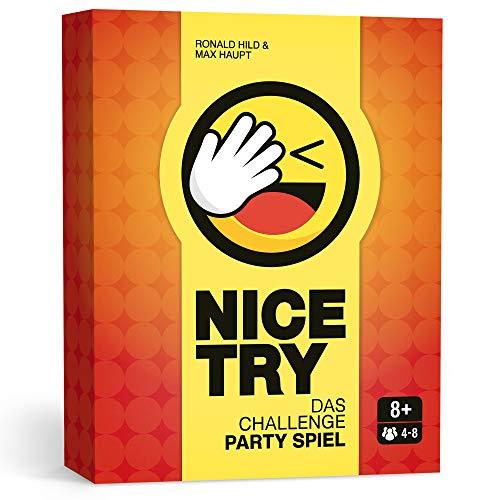 Nice Try – Das Challenge Party Spiel, Witziges Kartenspiel für 4 - 8 Spieler. Partyspaß auch für große Runden.