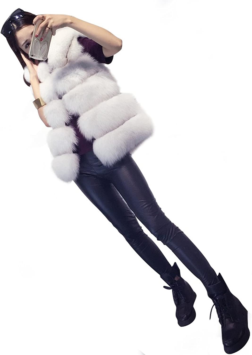 Fhillinuo Faux Mink Fur Thickness Vest Sleeveless with Hood for Women