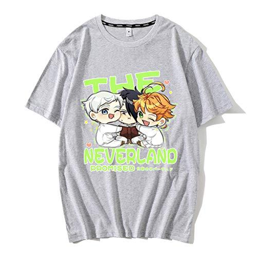 Nova camisa cinza The Promised Neverland masculina e feminina de algodão anime Emma Norman Ray camisetas pulôver, blusas camisetas, 08 - Cinza, 3XL