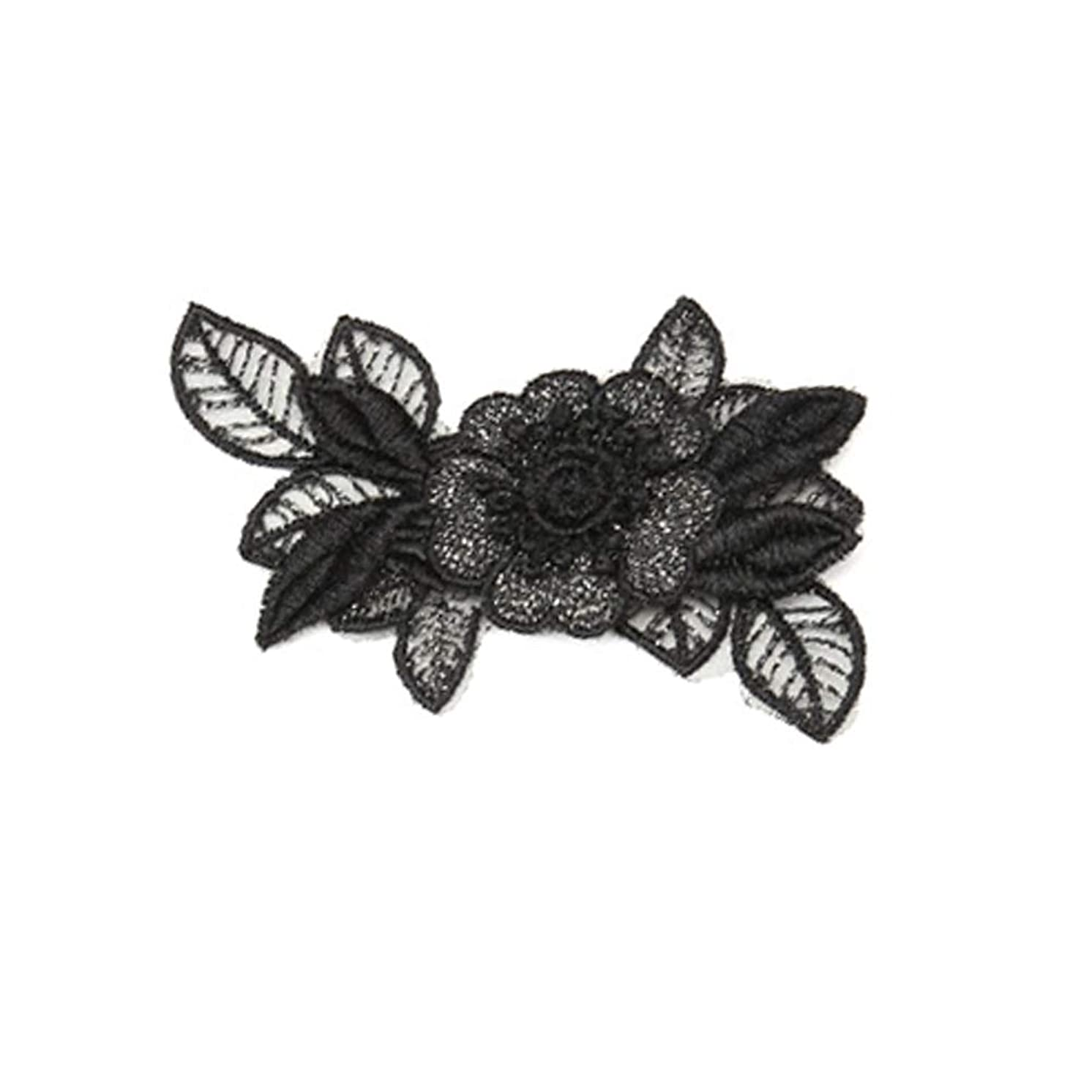 XUNHUI 3D Small Black Embroidered Lace Flower Patch Sewing Clothes for Women 2 Pieces