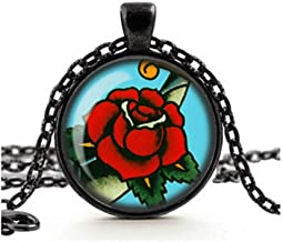 Dandelion Red Rose Necklace, Tattoo Rose Pendant, Vintage Sailor Jerry Tattoo, Rockabilly Retro Jewelry, Glass Cameo Necklace