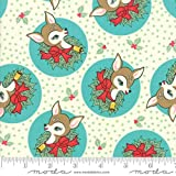 FABRIC Moda ~ DEER CHRISTMAS ~ Urban Chiks (31161 21) Coolmint - by 1/2 yard - by Lukas Winges